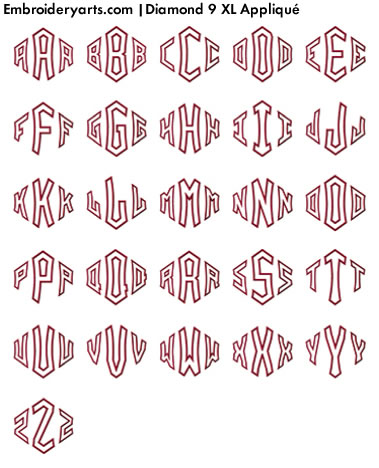 Diamond XL Appliqué Monogram Set 9