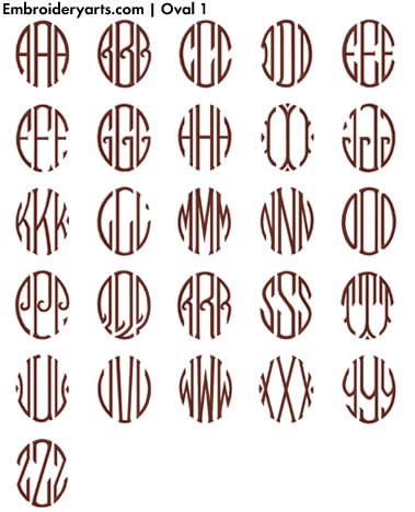 Oval Monogram Set 1