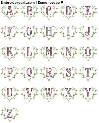 Romanesque Monogram Set 9