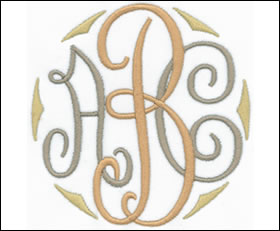 Embroidery Fonts - Dotty Curlz Embroidery Font Monogram - 4 sizes